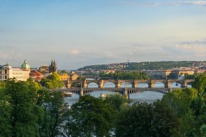 Panoramic view of Vltava river with