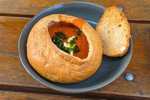 Tomato cream soup, soup puree served