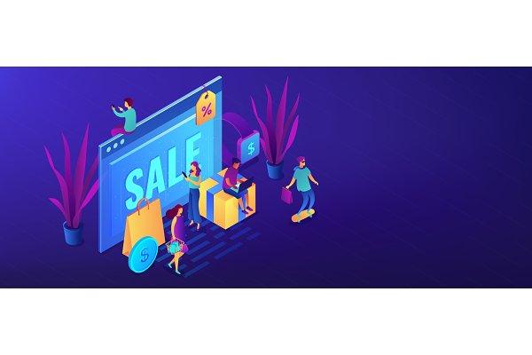 Online sales pro concept isometric