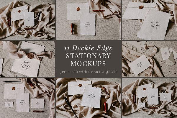 Product Mockups: Barn Owl Studio - Deckle Edge Stationary Mockup Bundle