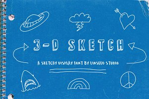 3D Sketch Display Font