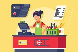 Woman cashier