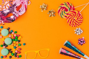 flat lay with candies and and party