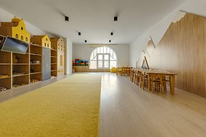 cozy kindergarten classroom interior
