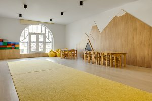 playing room interior with wooden ch