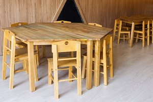 wooden tables and small chairs in ki