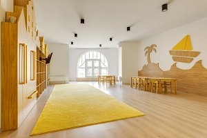 cozy light classroom with wooden fur