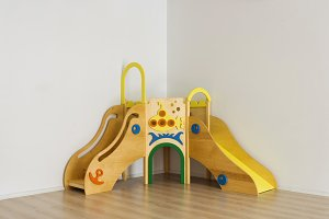 beautiful bright wooden slides in pl