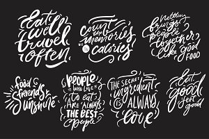 Letterring for menu, cafe, 10 quotes