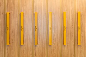 full frame view of wooden lockers wi