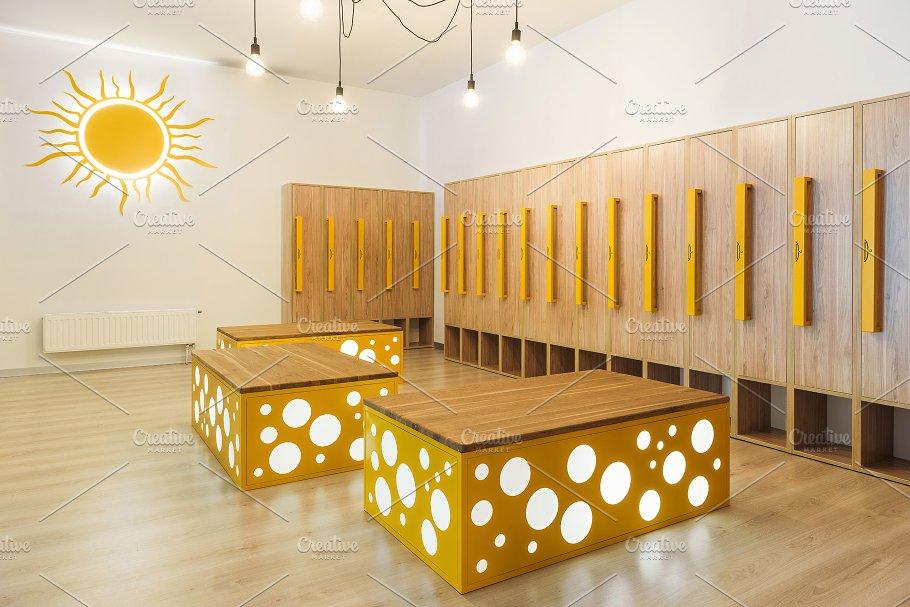Wooden lockers in modern illuminated ~ architecture photos