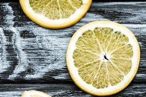 top view of slices of fresh lemon on