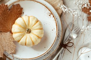 Autumn decorated table setting