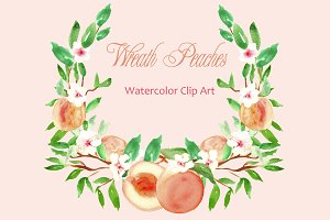 Peach Wreath watercolor clip art