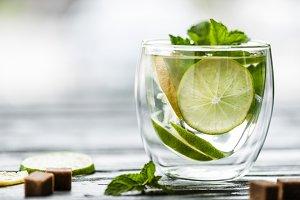 glass with fresh cold mojito cocktai