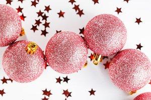 Glitter ball Christmas ornament pink