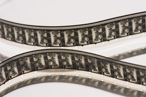 close up view of retro filmstrips on