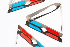 top view of arranged 3d glasses on w