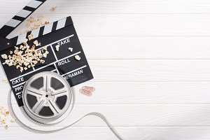 flat lay with clapper board, filmstr