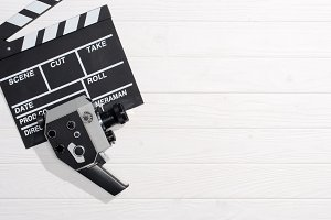 flat lay with clapper board and retr