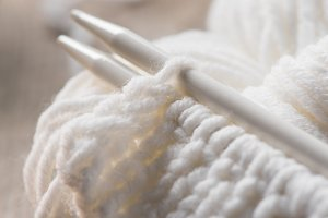 selective focus of knitted needles a