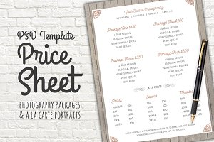 Price Sheet Template PSD