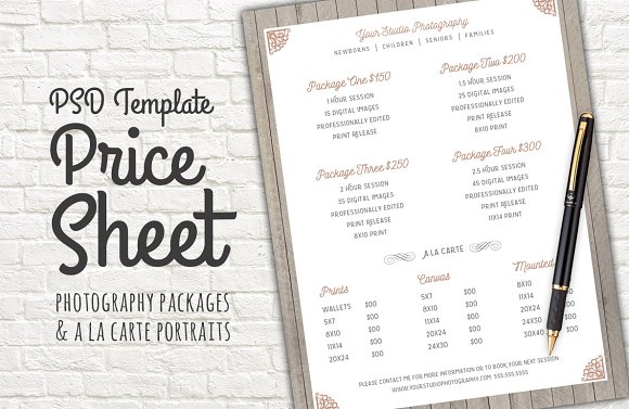 Price Sheet Template PSD Templates on Creative Market – Pricing Sheet Template