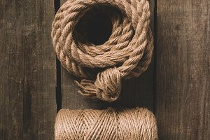 top view of two various beige ropes