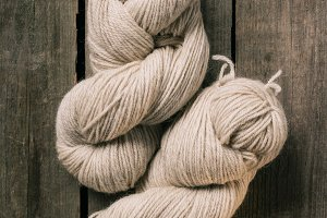 elevated view of two woolen beige kn