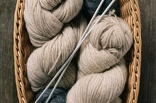 top view of beige and grey knitting  by  in Beauty & Fashion