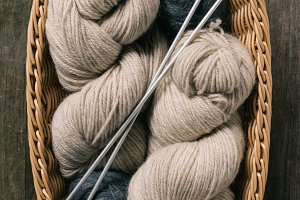 top view of beige and grey knitting