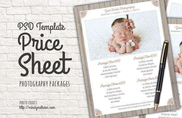 photography packages price list psd templates creative market