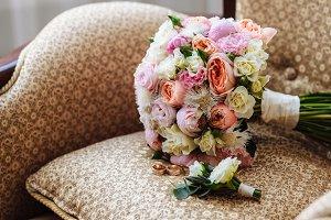 Beautiful wedding bouquet, two gold