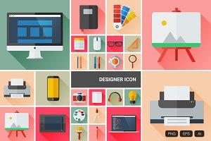 24 Flat Designer Icon Vector