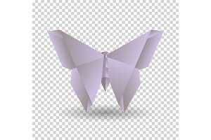 Pink origami butterfly on