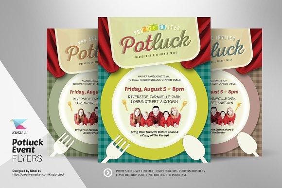 Potluck Event Flyer Template Flyer Templates Creative Market