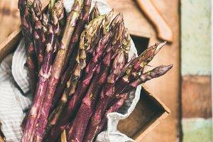 Fresh raw uncooked purple asparagus