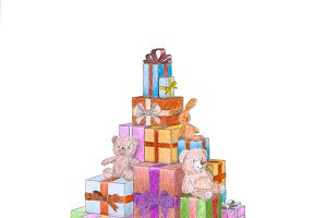 Christmas gift boxes and toys