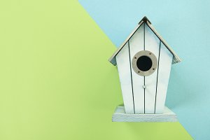 Blue wooden bird house on a blue and