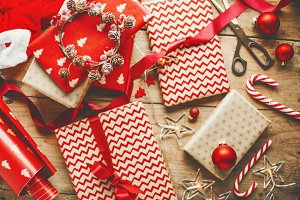Beautiful Christmas gifts on wooden