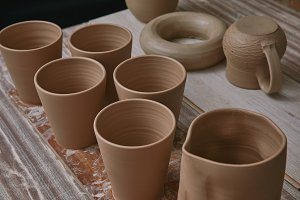 selective focus of ceramic pots at t