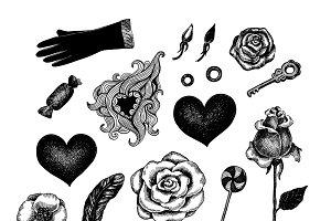 Vintage vector valentine set