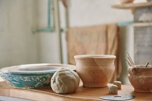 selective focus of clay and pottery