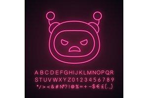 Angry robot emoji neon light icon