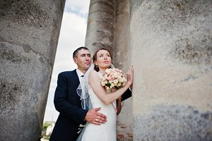 Wedding couple background old church