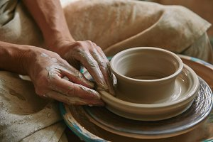 close up view of professional potter