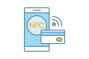 NFC technology color icon