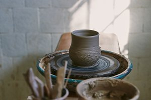 selective focus of clay pot on potte