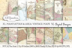 XL MANHATTAN & AREA VINTAGE MAPS