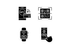 E-payment glyph icons set